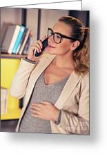 Pregnant Woman At Work Greeting Card