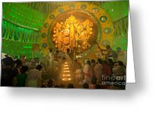 Priest Praying To Goddess Durga Durga Puja Festival Kolkata India Greeting Card