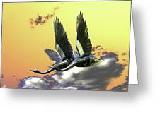 Psychedelic Metal Sculpture Of Two Swans Flying Greeting Card