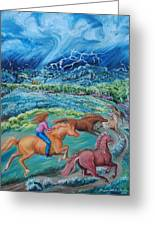 Racing The Lightning Home Greeting Card