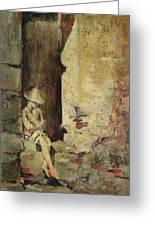 Ragazzo Sulluscio Al Sole Greeting Card