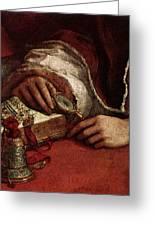Raphael Pope Leo X With Cardinals Giulio De  Medici And Luigi De  Rossi  Greeting Card