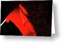 Red Flag On Black Background Greeting Card