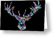 Reindeer Design By Snowflakes Greeting Card