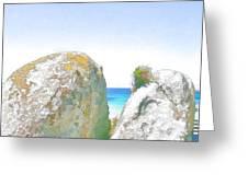 2 Rocks By The Sea Greeting Card by Jan Hattingh