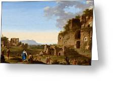 Roman Landscape With Ruins And Travellers Greeting Card