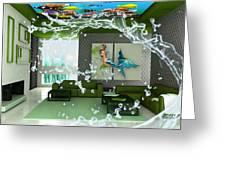 Rooftop Saltwater Fish Tank Art Greeting Card