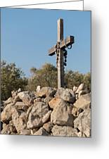 Rosary Hanging On A Small Wooden Cross On A Stone Wall Greeting Card