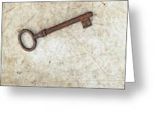 Rusty Key On Old Parchment Greeting Card