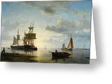 Sailing Ships At Dusk Greeting Card