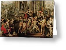 Saint Paul And Saint Barnabas At Lystra Greeting Card