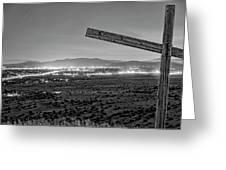 Santa Fe, Nm, From Bonanza Creek Ranch, Illuminated By The Moon, Greeting Card