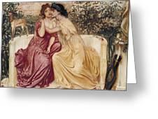 Sappho And Erinna In A Garden At Mytilene Greeting Card
