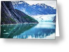 Sawyer Glacier At Tracy Arm Fjord In Alaska Panhandle Greeting Card