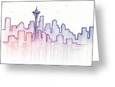 Seattle Skyline Watercolor Greeting Card