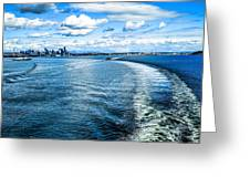 Seattle Washington Cityscape Skyline On Partly Cloudy Day Greeting Card