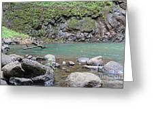 Secret Falls Or Uluwehi Falls Greeting Card