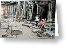 Souvenir Trinket Stall Vendor In Angkor Wat Famous Temple Cambod Greeting Card