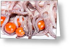 Squid Raw Cherry Tomatoes And Parsley Greeting Card
