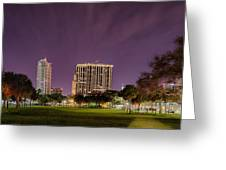 St Petersburg Florida City Skyline And Waterfront At Night Greeting Card