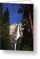 Star Trails At Yosemite Falls Greeting Card