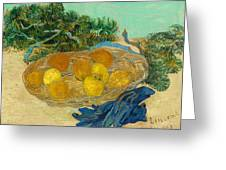 Still Life Of Oranges And Lemons With Blue Gloves Greeting Card