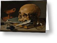 Still Life With A Skull And A Writing Quill Greeting Card