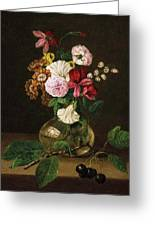 Still Life With Flowers In A Glass Vase And Cherry Twig Greeting Card