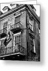 2 Story Building New Orleans Black White  Greeting Card