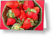 Strawberries In A Wooden Bowl On The Old Wooden Table Greeting Card
