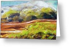 Structure Of Wooden Log Covered With Moss On The Riverside, Closeup Painting Detail. Greeting Card