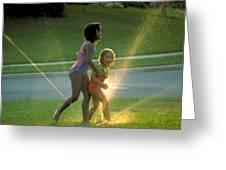 Summer Fun In A Sprinkler Greeting Card