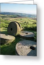 Summer Landscape Image Of Millstones On Top Of Stanage Edge In P Greeting Card