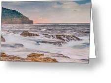 Sunrise Seascape And Headland Greeting Card