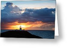 Sunset At Strumble Head Lighthouse Greeting Card