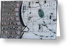 Supermarket Roof And Many Cars In Parking, Viewed From Above. Greeting Card