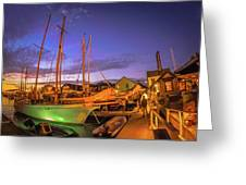 Tall Ships And Yahts Moored In Newport Harbor Greeting Card