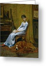 The Artist's Wife And His Setter Dog Greeting Card