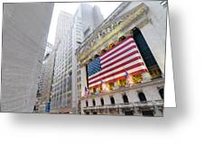The Facade Of The New York Stock Greeting Card by Justin Guariglia