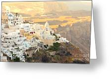 The Golden Hour In Fira Greeting Card
