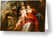 The Holy Family With Saints Francis And Anne And The Infant Saint John The Baptist Greeting Card