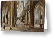 The Interior Of The Onze Lieve Vrouwekerk In Antwerp Greeting Card