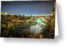The Monroe Street Dam And Bridge At Night, In Spokane, Washingto Greeting Card