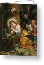 The Penitent Mary Magdalene Visited By The Seven Deadly Sins Greeting Card