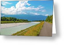 The River Rhine Between Liechtenstien And Switzerland Greeting Card