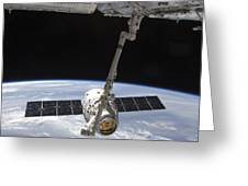 The Spacex Dragon Cargo Craft Greeting Card by Stocktrek Images