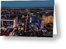 the Strip at night, Las Vegas Greeting Card