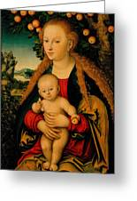 The Virgin And Child Under An Apple Tree Greeting Card