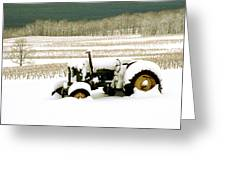 Tractor In Snowy Vineyard Greeting Card