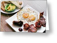 Traditional English British Fried Breakfast With Eggs Bacon And  Greeting Card